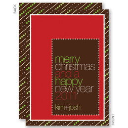 christmas cards personalized | Brown Candy Stripes Christmas Cards by Spark & Spark