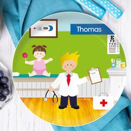 Boy Doctor's Visit Kids Plates