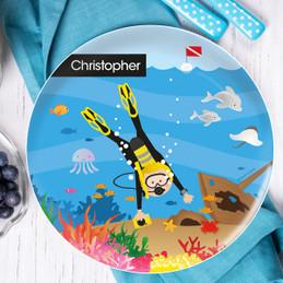 Diver Boy Kids Plates