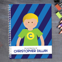blonde super boy personalized notebook for kids