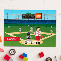 Home Run Brunette Boy personalized kids puzzles