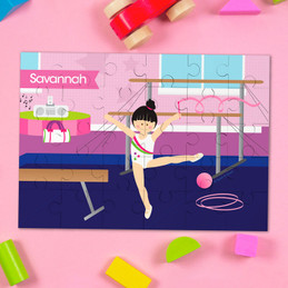 Cute Gymnast Girl Personalized Puzzles