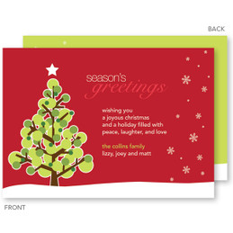 Dotted Xmas Tree Red Christmas Cards