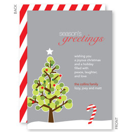 Dotted Xmas Tree Gray Christmas Cards