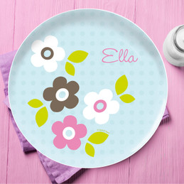Preppy Flowers Blue Personalized Dishes