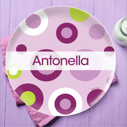 Circles and Circles Purple Personalized Plates For Kids