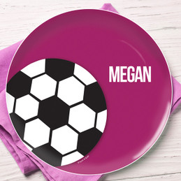 Soccer Fan Purple Personalized Dishes