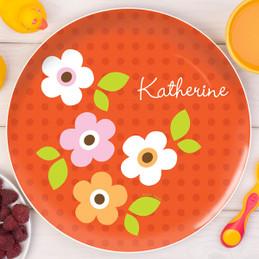 Preppy Flowers Orange Personalized Kids Plates