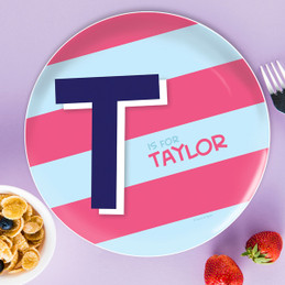 Double Initial and stripes Blue Personalized Kids Plates