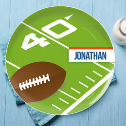 Football Fan Personalized Plates For Kids