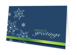 Falling Snowflakes Blue Christmas Cards