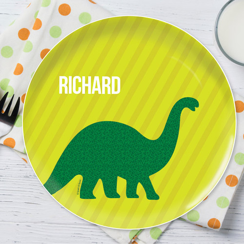 Dino And Me Green Personalized Kids Plates