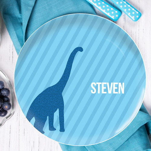Dino And Me Blue Personalized Plates For Kids