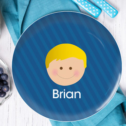 Just Like Me Boy Blue Personalized Melamine Plates