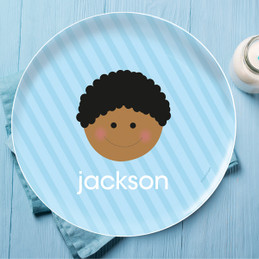 Just Like Me Boy Light Blue Personalized Dishes