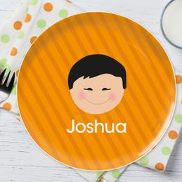 Just Like Me Boy Orange Personalized Kids Plates