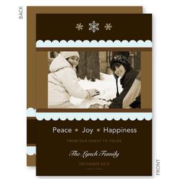 Ribbon & Flakes Christmas Photo Cards