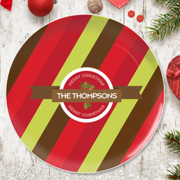 Xmas Bold Lines Personalized Christmas plates