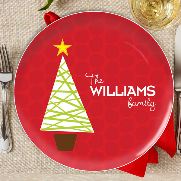 Christmas Plates.A Modern Kind Of Tree Personalized Christmas Plates