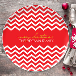 Fancy Zig Zags (Red) Personalized Christmas plates