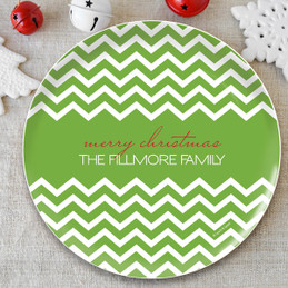 Fancy Zig Zags (Green) Personalized Christmas plates