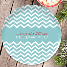 Fancy Zig Zags (Blue) Personalized Christmas plates
