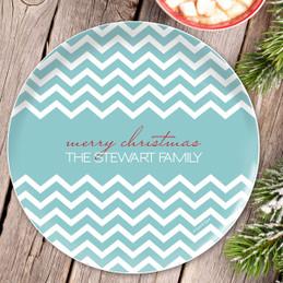 Fancy Zig Zags Blue Personalized Christmas plates