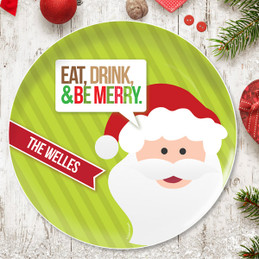 Eat, Drink & Be Merry Personalized Christmas Plates