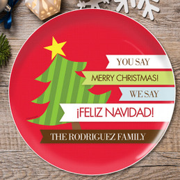 Feliz Navidad Personalized Christmas plates