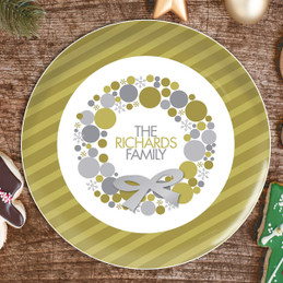 A Golden Xmas Wreath Personalized Christmas plates