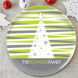 Modern Xmas Lines Personalized Christmas plates