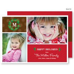Cute Tiny Wreath Christmas Photo Cards