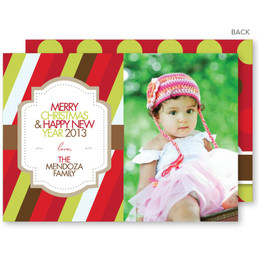 Festive Stripe Christmas Photo Cards
