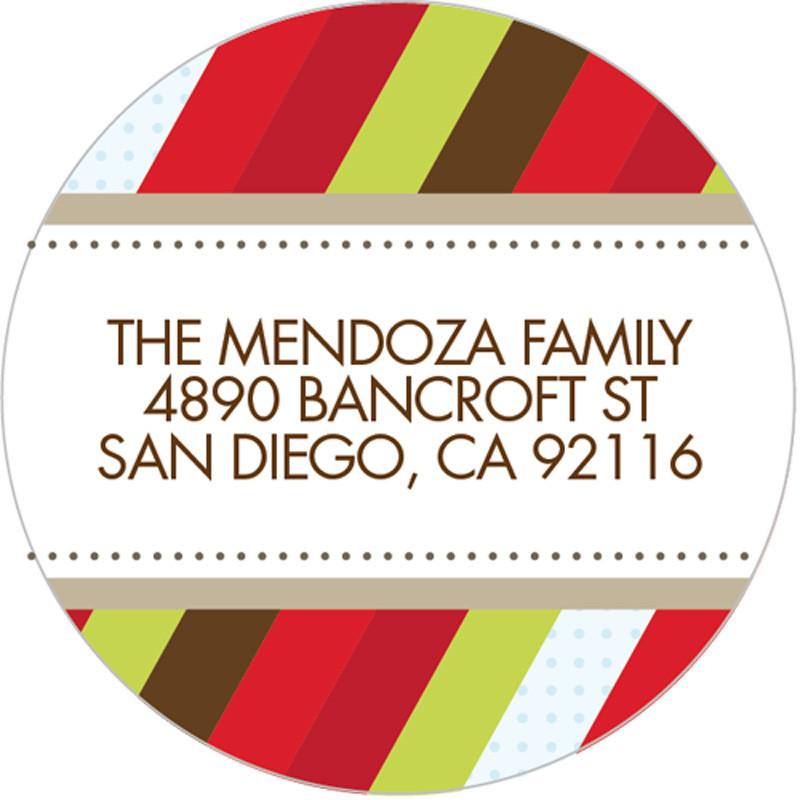 Christmas Address Labels.Festive Stripe Christmas Address Labels
