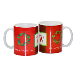 Initial and Wreath Ceramic Mug