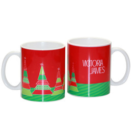 A Field of Xmas Trees Ceramic Mug