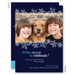 Floating Snowflakes Christmas Photo Cards