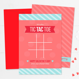 Pink Tic Tac Toe Kids Valentines Cards