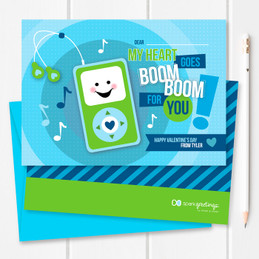 Blue Boom Boom For You Kids Valentines Cards