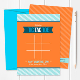 Blue Tic Tac Toe Kids Valentines Cards