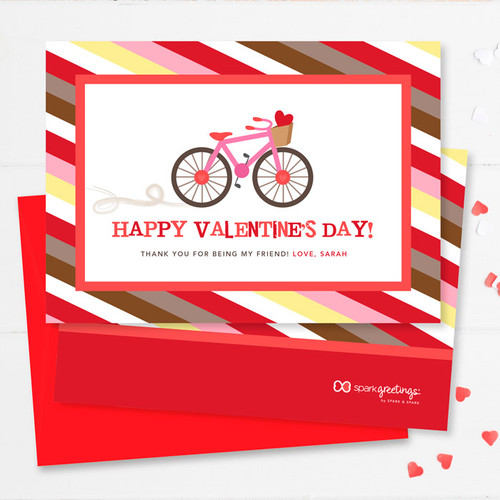 A Girl Love Ride Kids Valentines Cards