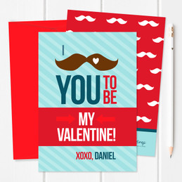 Valentines Cards For Kids | Mustache Love