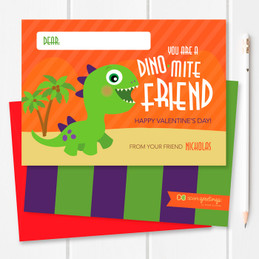 Dinomite Friend Kids Valentines Cards