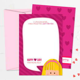 A Drawing For You-Girl Kids Valentines Cards