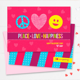 Peace, Love & Happiness Kids Valentines Cards