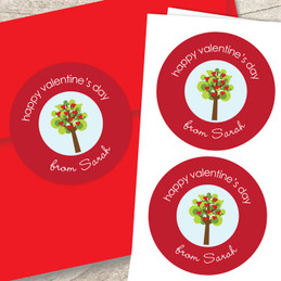 A Tree Of Love Valentine Labels
