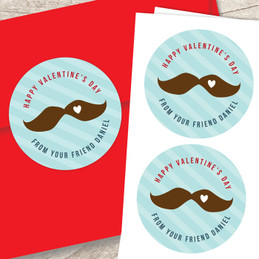 Mustache Love Valentines Labels