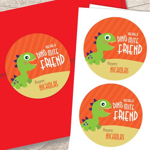 Dinomite Friend Valentine Address Labels