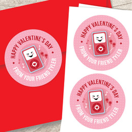 Pink Boom Boom For You Valentine Labels
