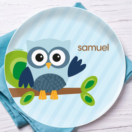 Owl be yours Blue Personalized Dishes